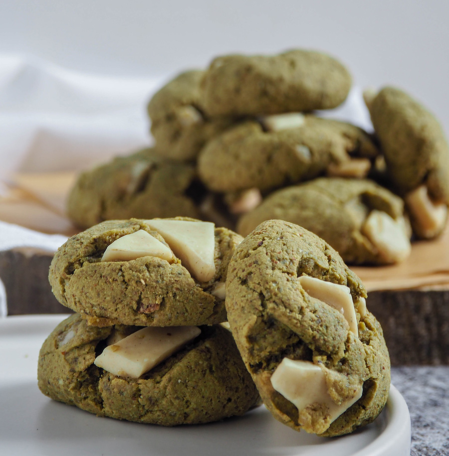 matcha and white chocolate cookies